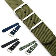 Two-Piece Nylon Webbing Watch Strap Stainless Steel Buckle and Keepers C045
